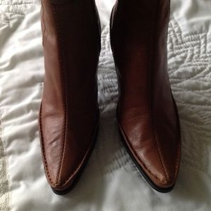 """Brown Leather Mid-Calf/Ankle Boot 3"""" Heels"""